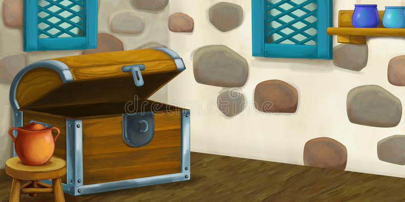 Cartoon background for fairy tale - interior of old fashioned house - kitchen. Happy and funny traditional illustration for children - scene for different usage royalty free illustration