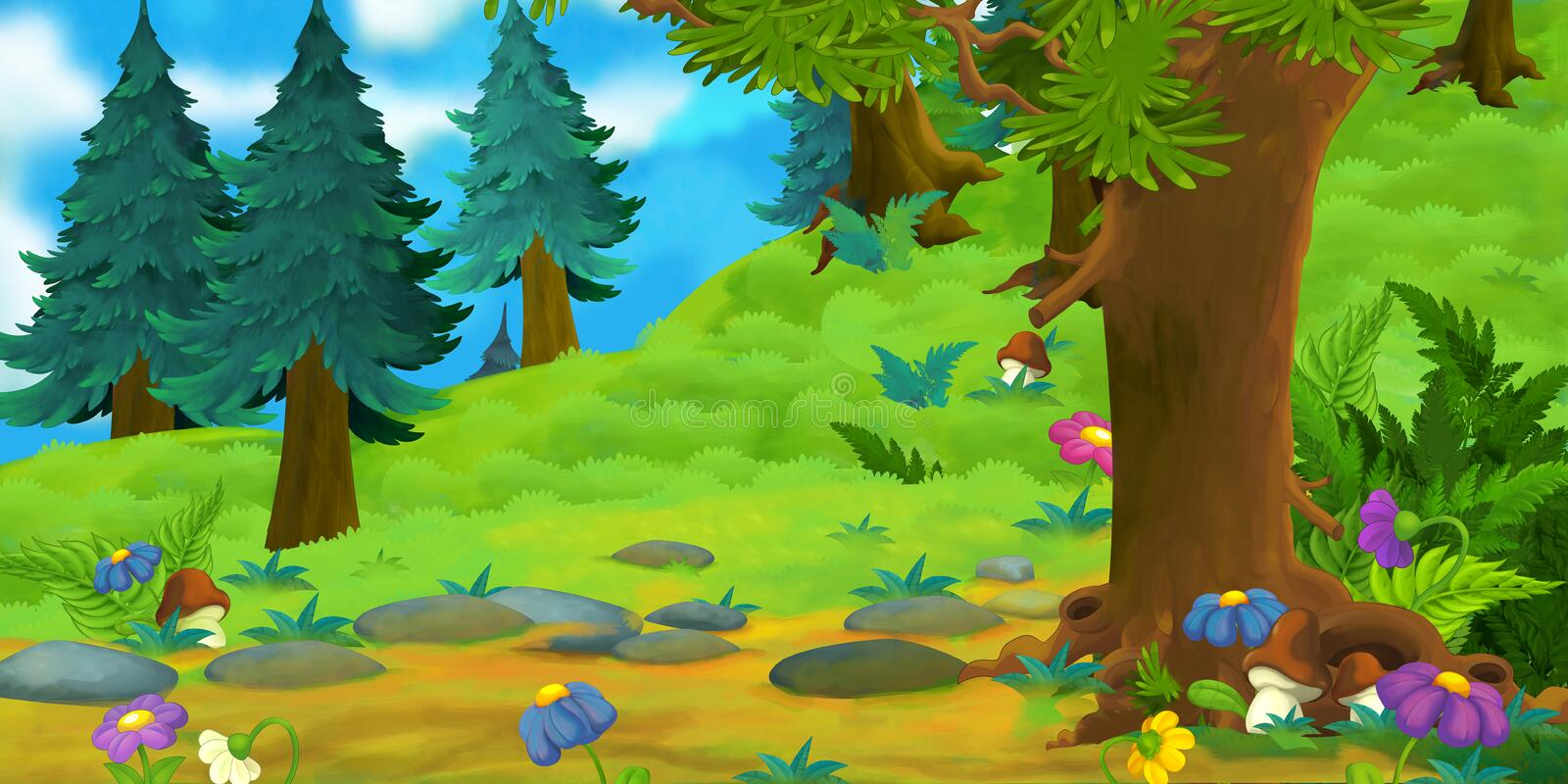 Cartoon Background Of A Forest Stock Illustration ...