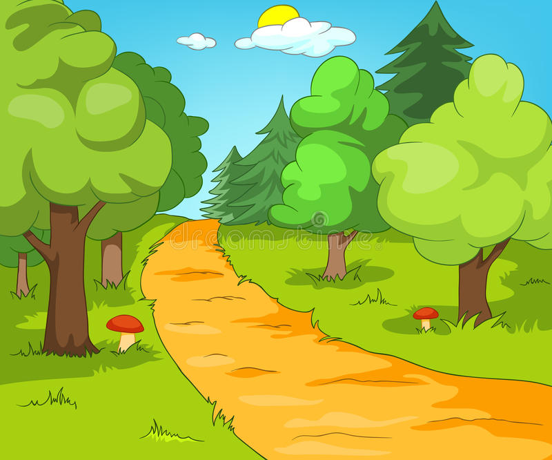 Cartoon background of forest landscape. Hand drawn cartoon of summer landscape. Colourful cartoon of summer background. Cartoon background of summer forest with vector illustration