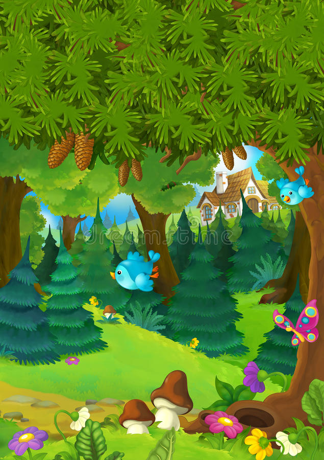 Cartoon background of a forest with nobody on stage - good for different fairy tales vector illustration