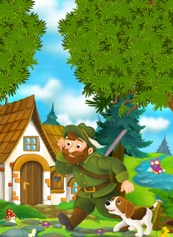 Cartoon background of an old house in the forest - forester with his dog coming to traditional house stock illustration