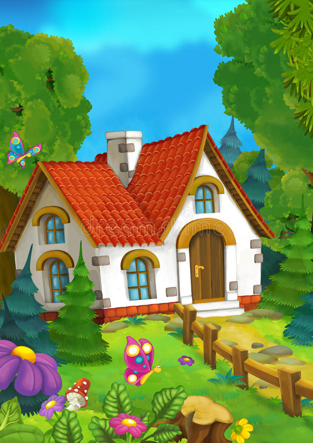 Cartoon background of an old house in the forest vector illustration