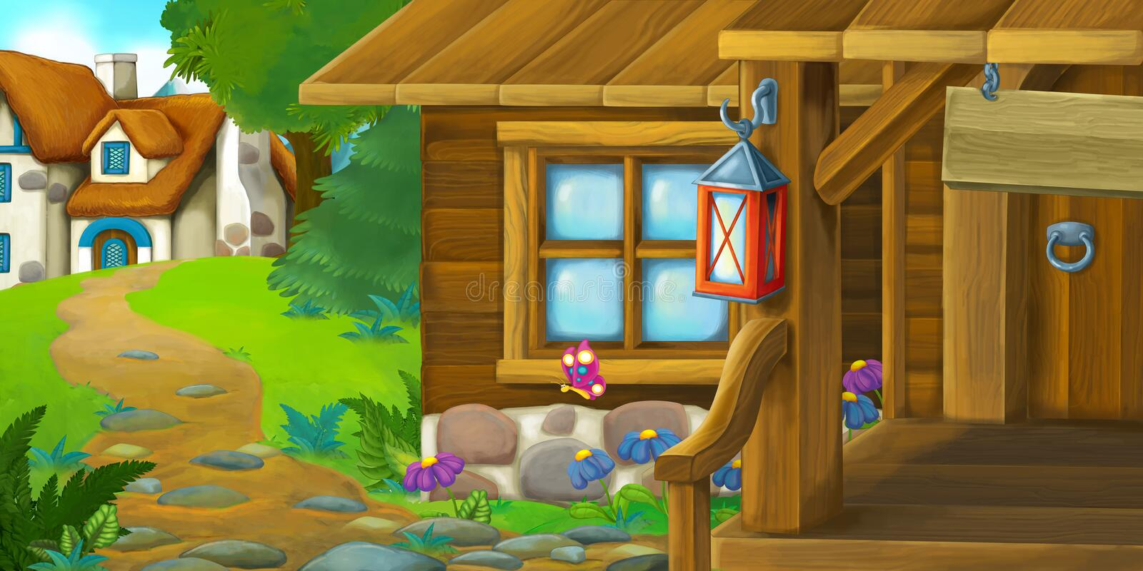 Cartoon background of an old houses - village in the meadow stock illustration