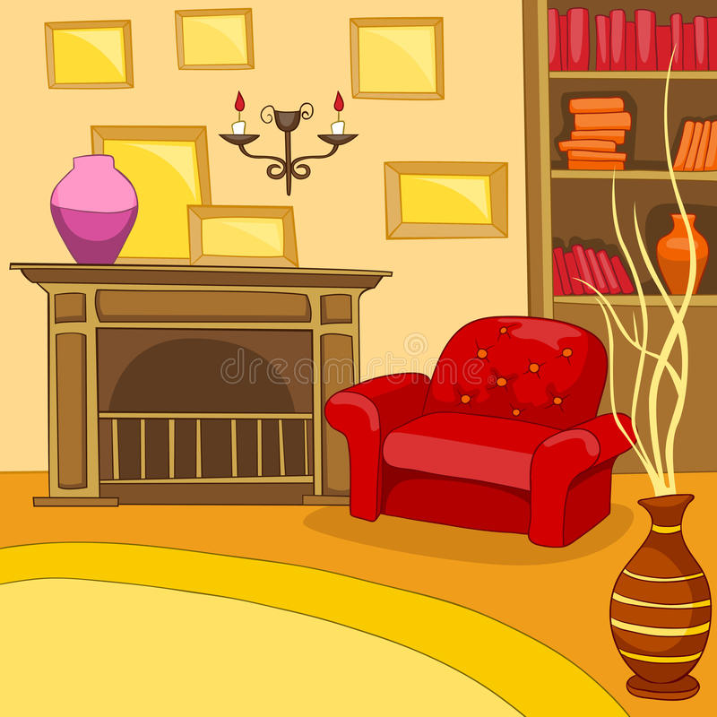 Room Background: Cartoon Background Of Vintage Living Room Interior Stock