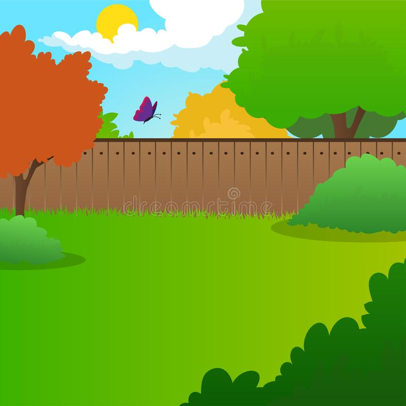 Cartoon backyard landscape with green meadow, bushes, trees, wooden fence, blue sky and flying butterfly. Summer nature. Background. Sunny day concept. Colorful stock illustration