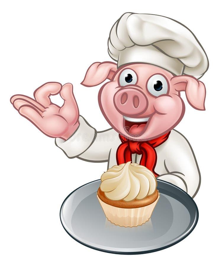 Cartoon Baker Chef Pig Character stock illustration