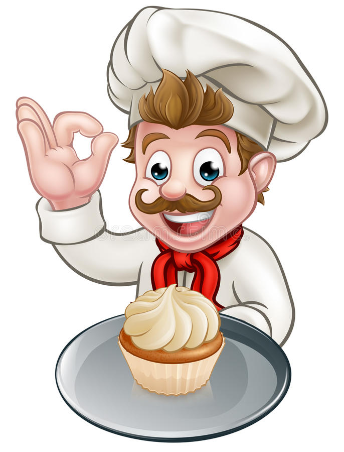 Cartoon Baker or Pastry Chef royalty free illustration