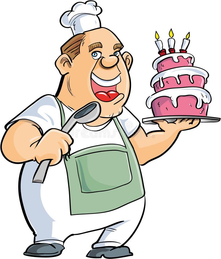 Download Cartoon Baker With A Spoon And Big Cake Stock Illustration - Illustration: 37349829