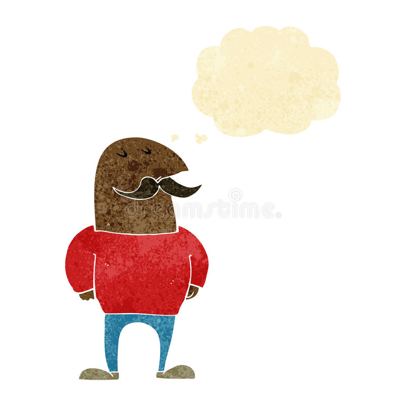Cartoon bald man with mustache with thought bubble vector illustration