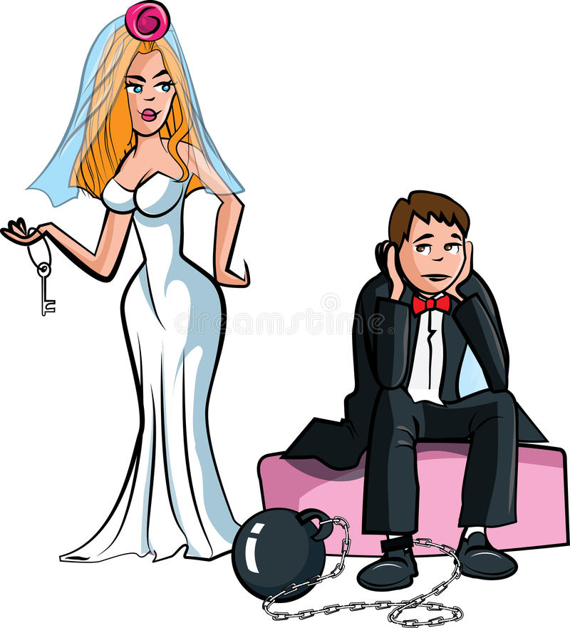 Download Cartoon Ball And Chain. Just Married Royalty Free Stock Images - Image: 22029369
