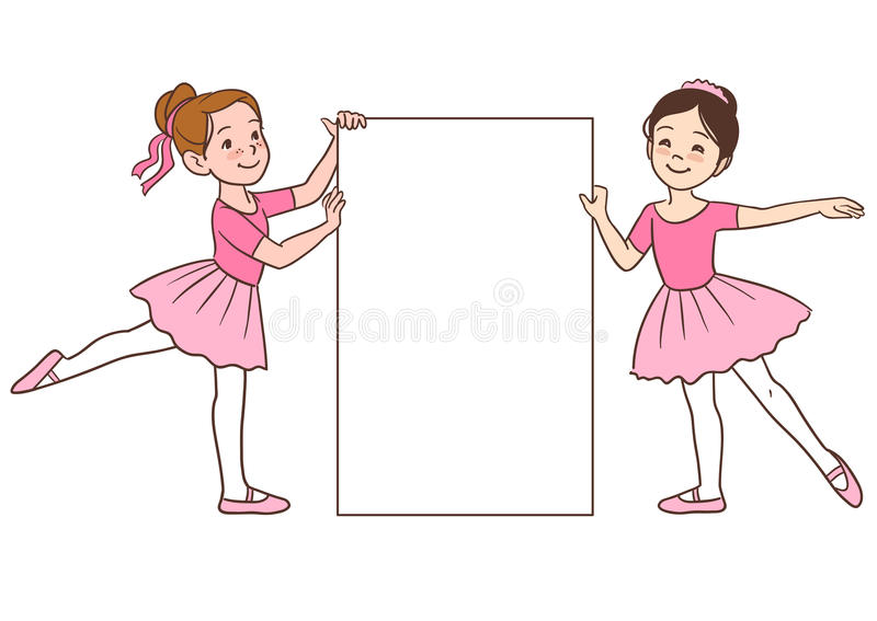 Cartoon ballerina girls holding blank sign template royalty free illustration