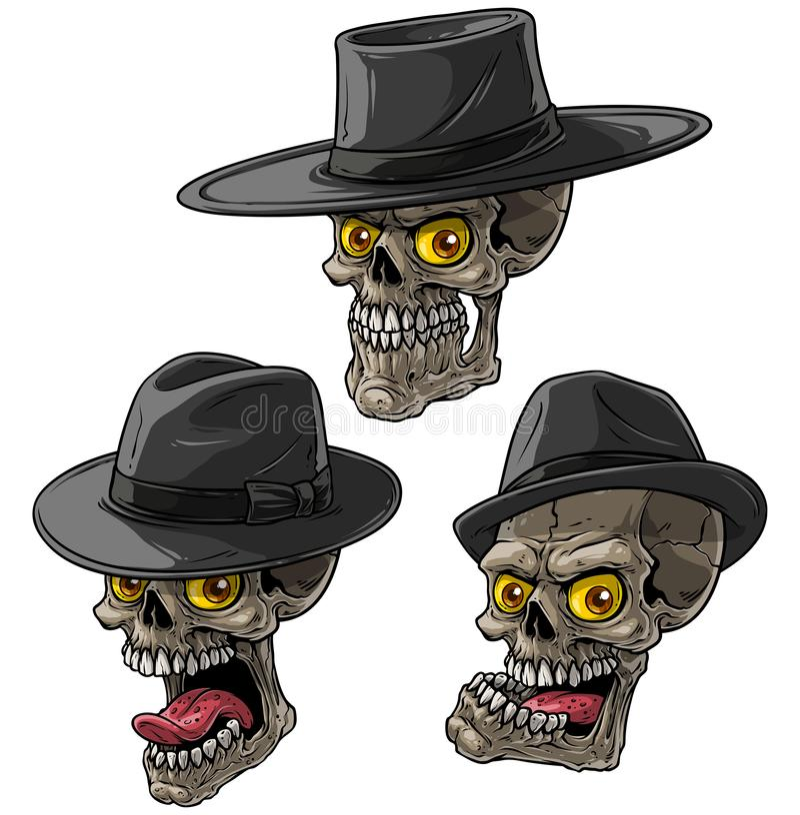 Cartoon bandit mafia Skulpturen mit schwarzem Hut stock abbildung