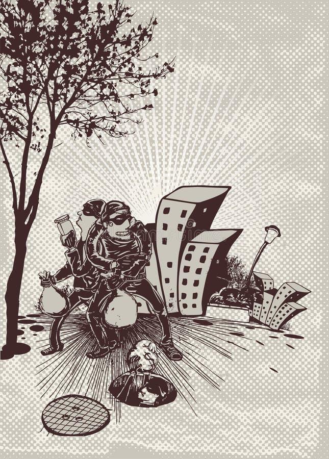 Download Cartoon bandits escape stock illustration. Illustration of building - 7104850
