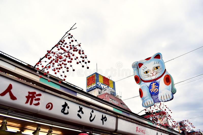 Cartoon banner out of Senso-ji Temple in Japan Tokyo. Senso-ji Temple in Japan Tokyo, a very famous scenic spot, Ancient traditional Japanese style temple, long royalty free stock images