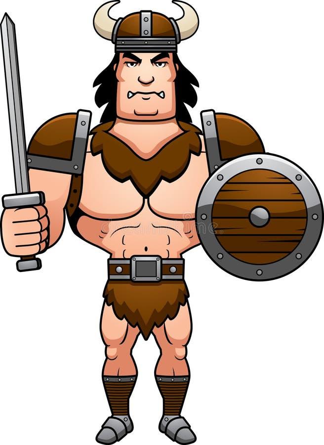 Cartoon Barbarian Battle. A cartoon illustration of a barbarian man ready for battle stock illustration