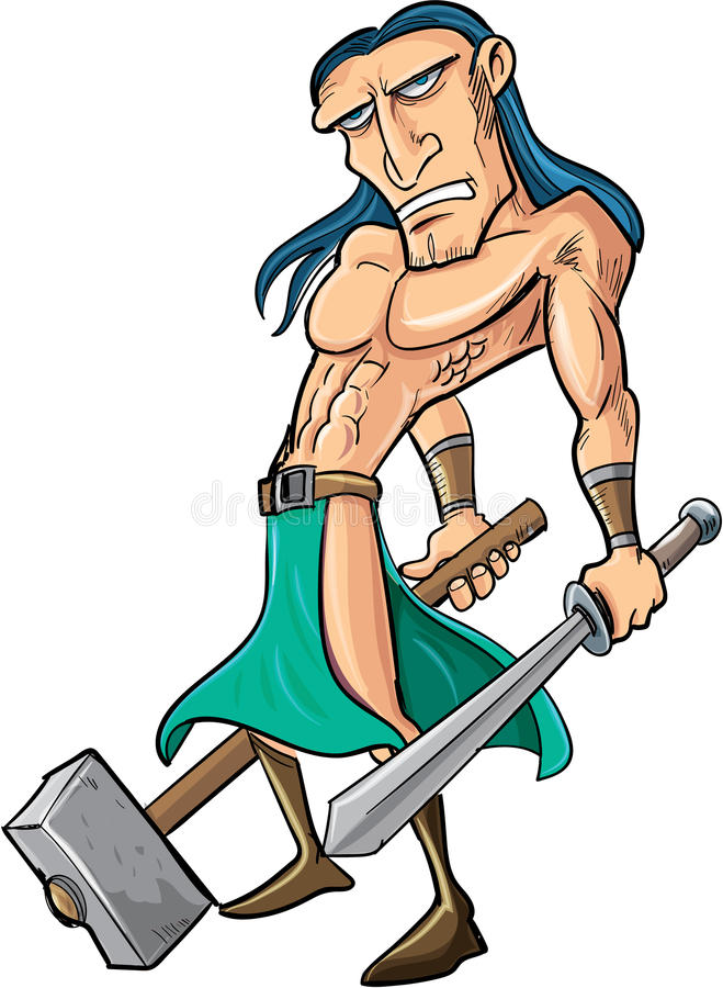 Cartoon barbarian with sword and hammer. Isolated stock illustration