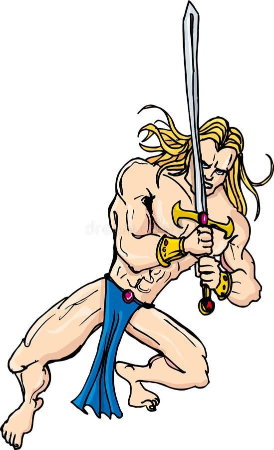 Download Cartoon Barbarian Swordsman With Blonde Hair Stock Illustration - Image: 21448239