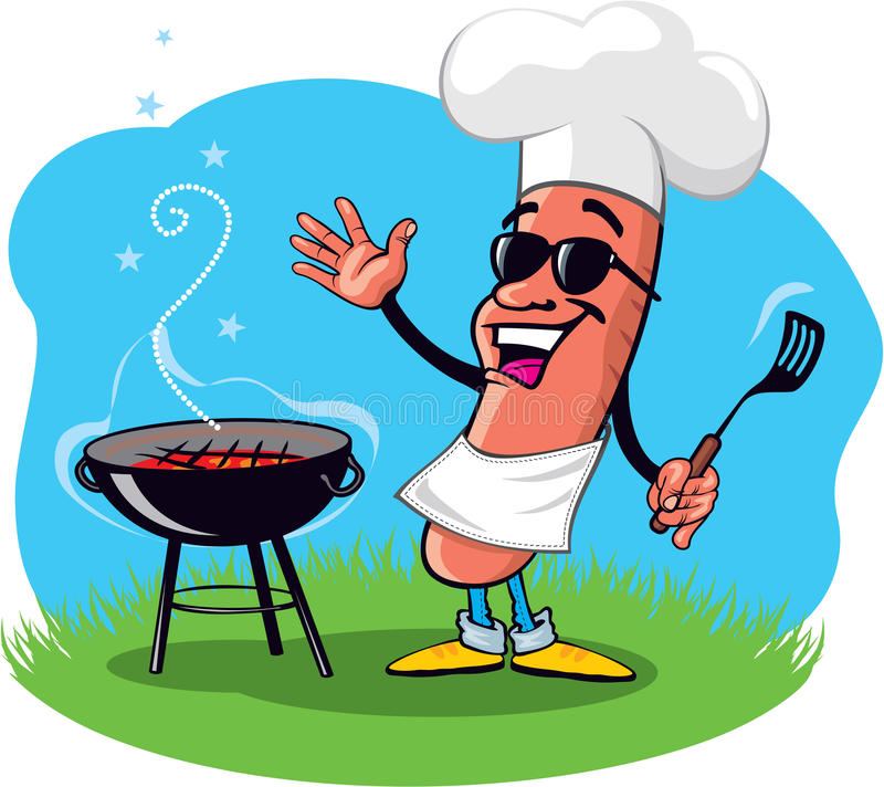 Cartoon Barbecue Hot Dog. Cartoon Cool Barbecue Hot Dog with Grill royalty free illustration