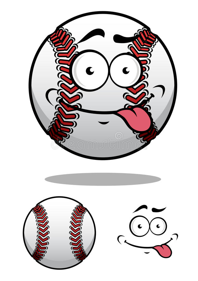 Cartoon baseball ball with a cheeky grin royalty free stock images