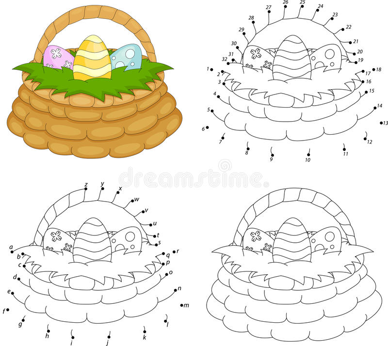 Cartoon basket with Easter eggs. Coloring book and dot to dot ga stock illustration