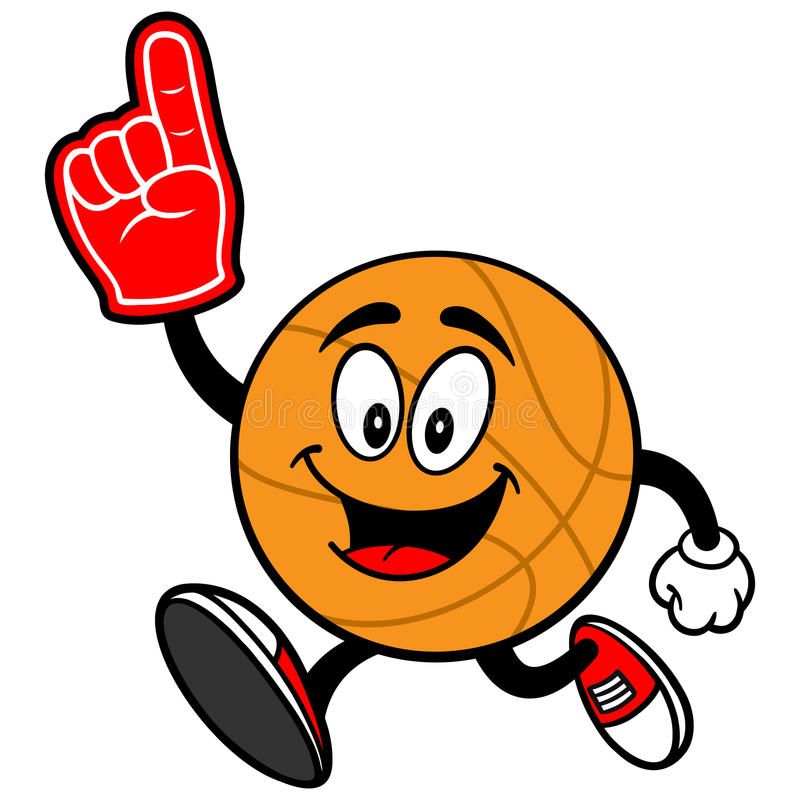 Cartoon Basketball Running with Foam Finger stock illustration