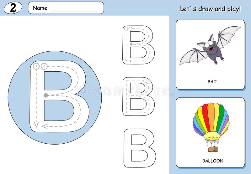 Cartoon bat and balloon. Alphabet tracing worksheet: writing A-Z and educational game for kids. Cartoon bat and balloon. Alphabet tracing worksheet: writing A-Z vector illustration
