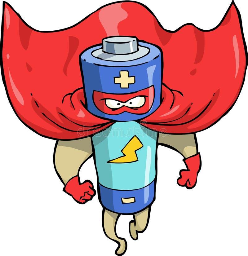 Cartoon battery superhero vector illustration