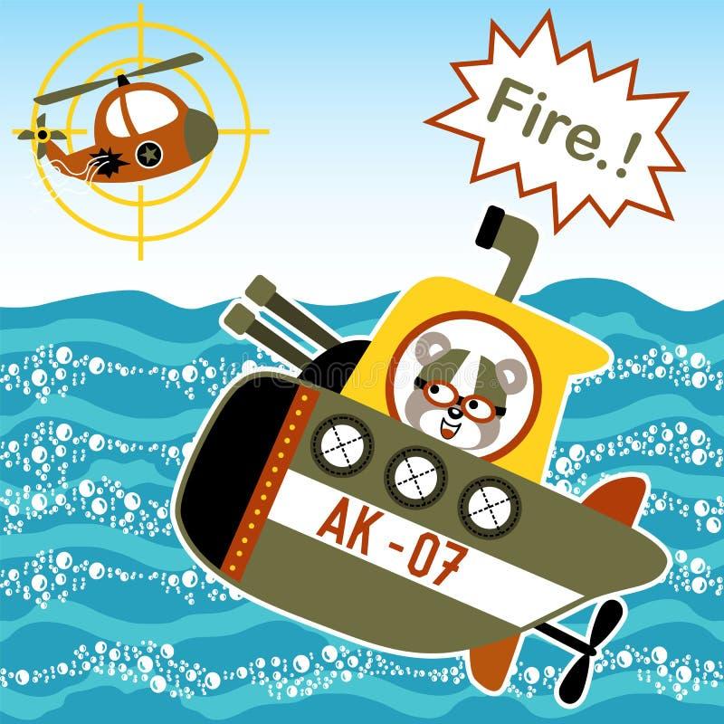 Cartoon of battle in the sea royalty free illustration