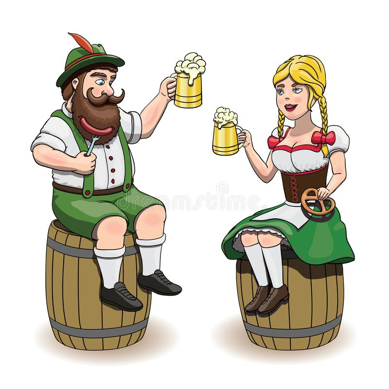 Cartoon Bavarian man and woman with beer, sausage and pretzel. Oktoberfest illustration, EPS 10, white background. Cartoon Bavarian man and woman with beer vector illustration