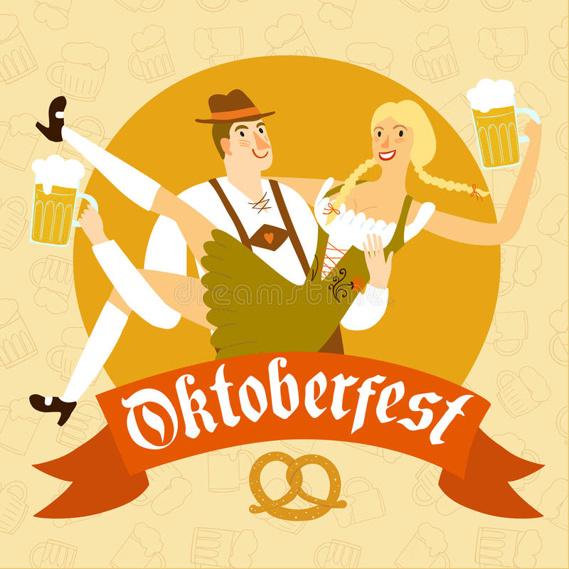 Cartoon Bavarian pair with beer. Cute cartoon Bavarian man in traditional costume holding woman with beer.Including label with Oktoberfest title on decorative stock illustration