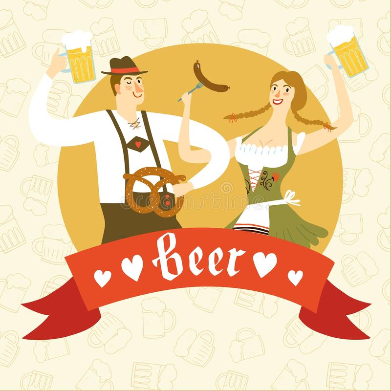 Cartoon Bavarian pair with beer and pretzel. Cute cartoon Bavarian man and woman with beer, sausage and pretzel. Oktoberfest illustration with label for your vector illustration