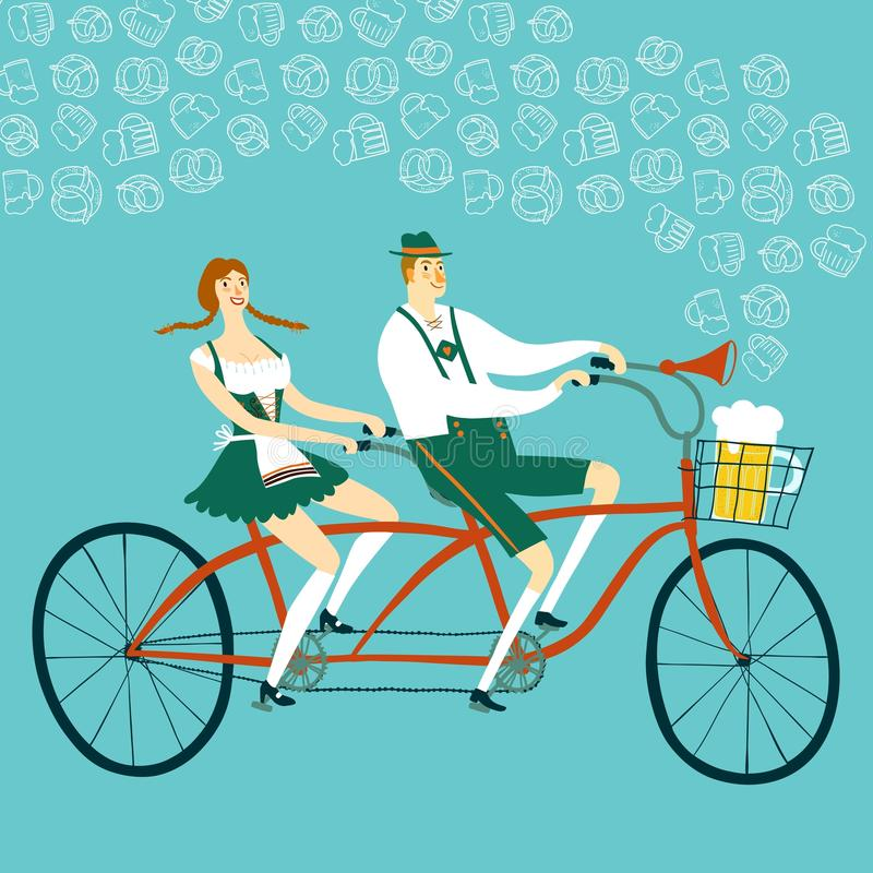 Cartoon Bavarian pair cyclist with beer. Cute cartoon Bavarian man and woman with beer on tandem bicycle, Oktoberfest illustration for your design vector illustration