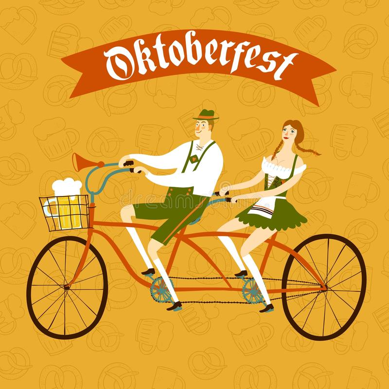 Cartoon Bavarian pair cyclist with beer and pretzel. Cute cartoon Bavarian man and woman with beer on tandem bicycle, Oktoberfest illustration for your design vector illustration