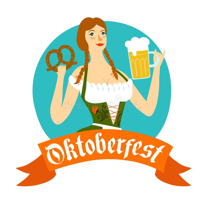 Cartoon Bavarian woman with beer and pretzel. Cute cartoon Bavarian woman with beer and pretzel, Oktoberfest label with ribbon for your design vector illustration