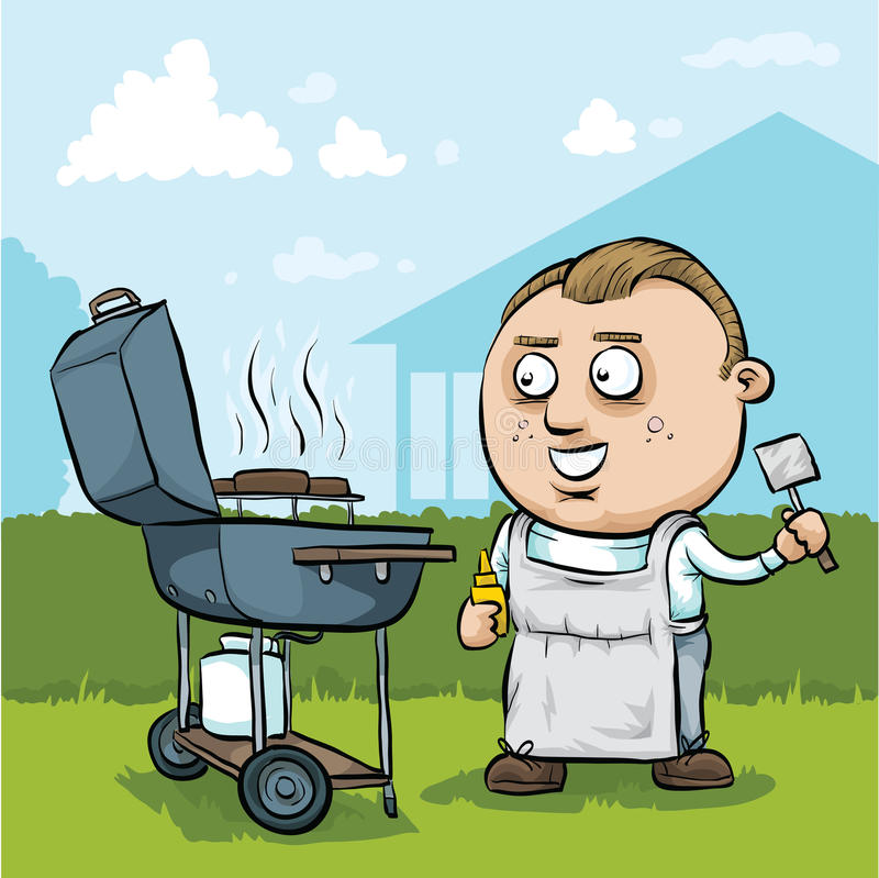 Cartoon BBQ Man. A cartoon man barbeques hamburgers on a summer day stock illustration
