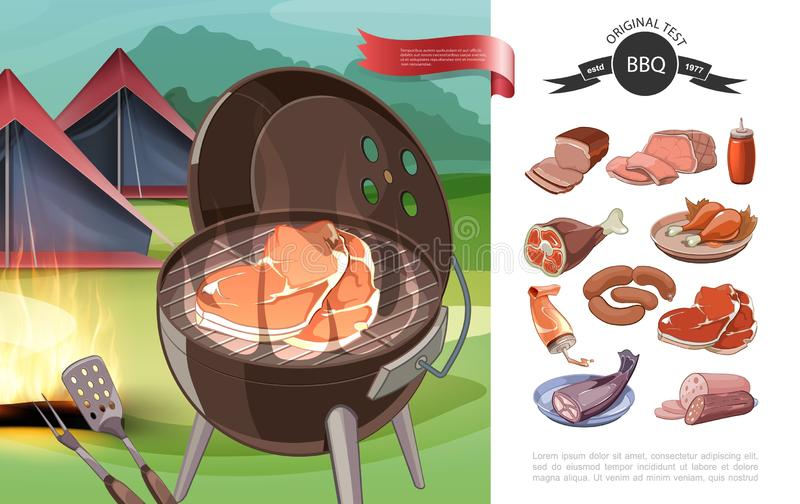 Cartoon Bbq Party Concept. With barbecue tents ketchup different meat and fish products vector illustration vector illustration