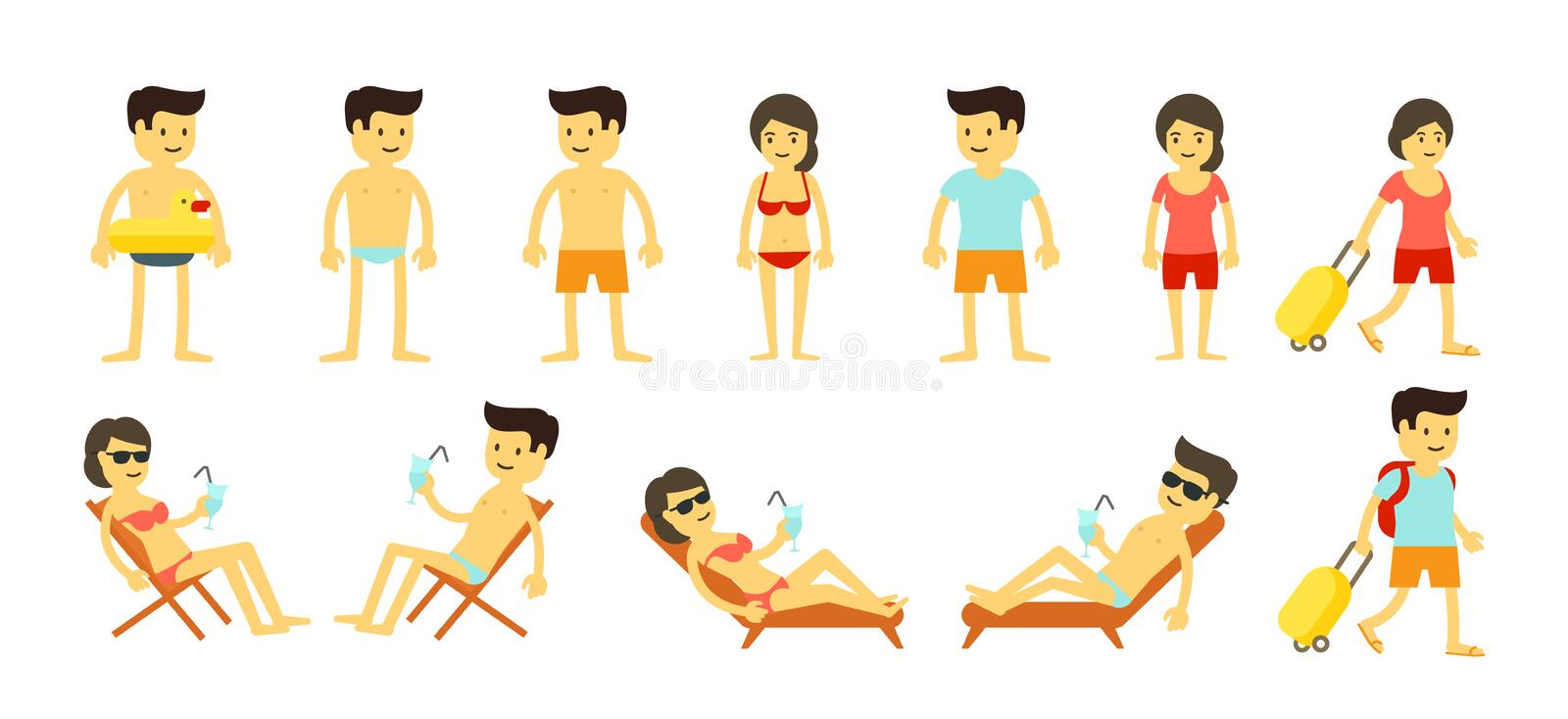 Cartoon beach holidays people big set. Womans and mans tourists vacations at sea resort. Summer travel. Chaise lounge stock illustration