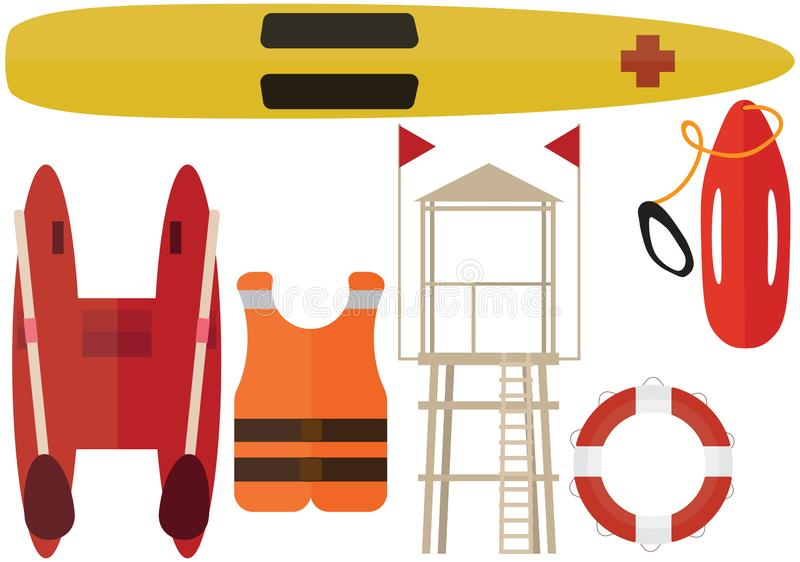 Cartoon beach rescuer color pack summer boat station help lifeguard stock illustration