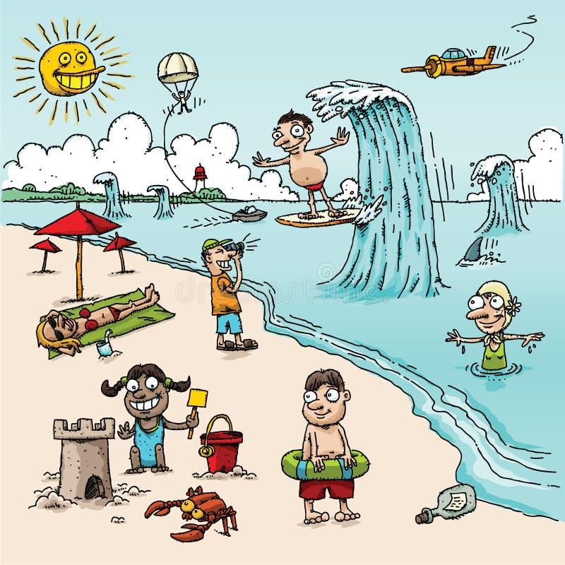Cartoon Beach Scene stock illustration. Illustration of ...