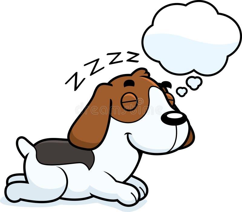 Cartoon Beagle Dreaming. A cartoon illustration of a Beagle sleeping and dreaming vector illustration