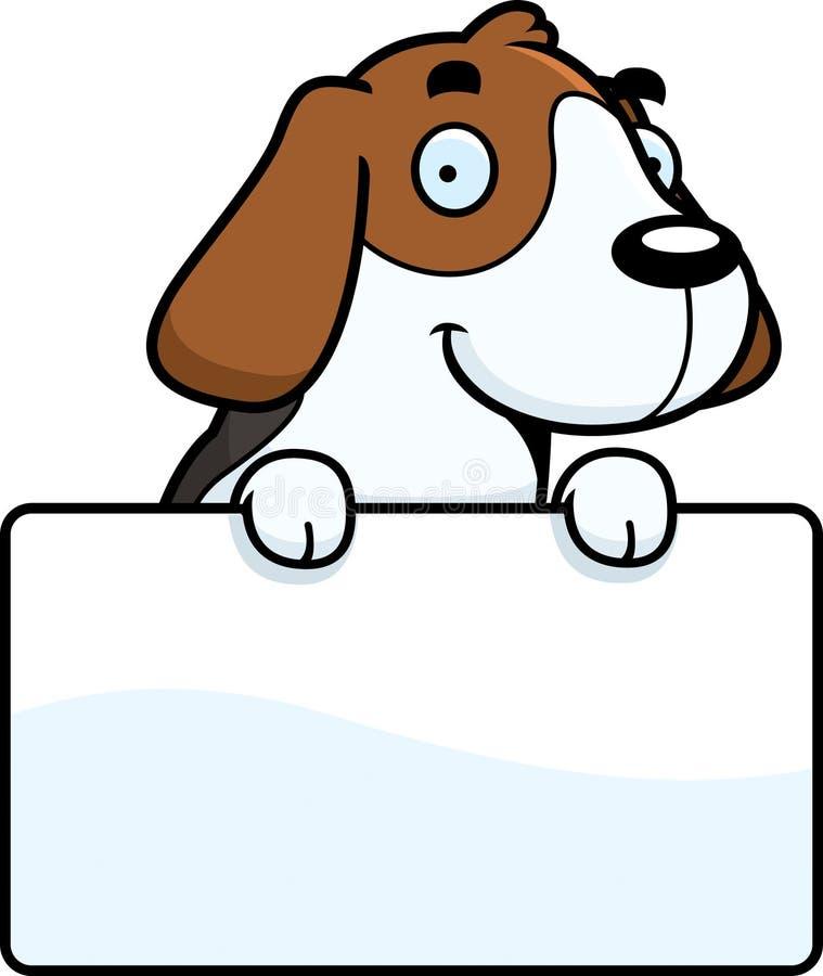 Cartoon Beagle Sign. A cartoon illustration of a Beagle with a sign vector illustration