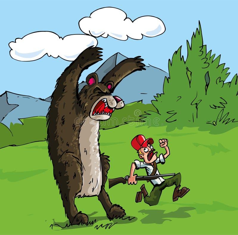 Cartoon of bear attacking a hunter vector illustration