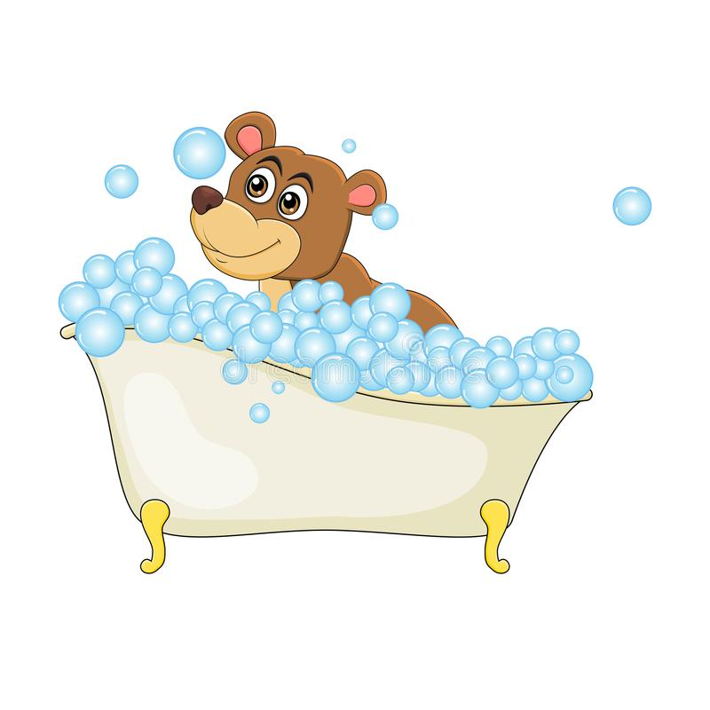 Cartoon bear in bathtub witth bubbles isolated on white background.  royalty free illustration