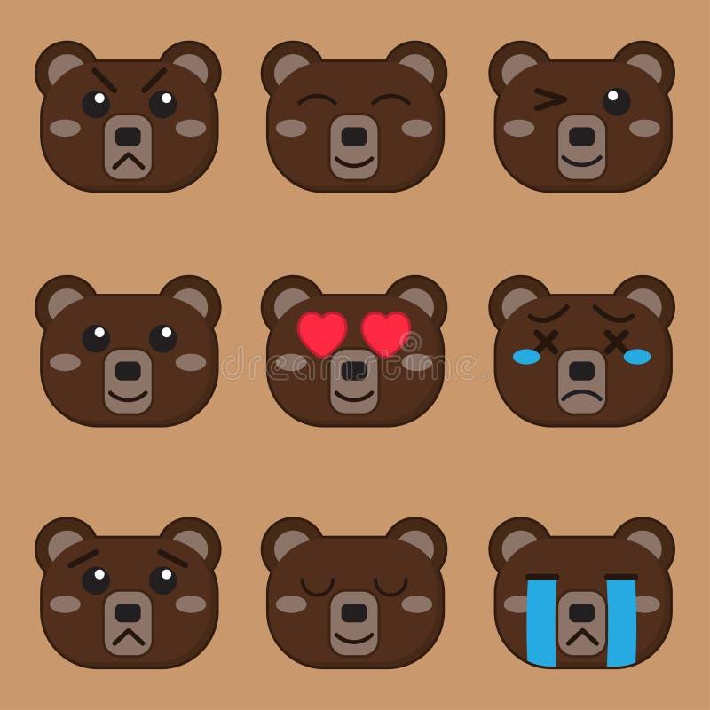 cartoon bear brown face emotion vector illustration