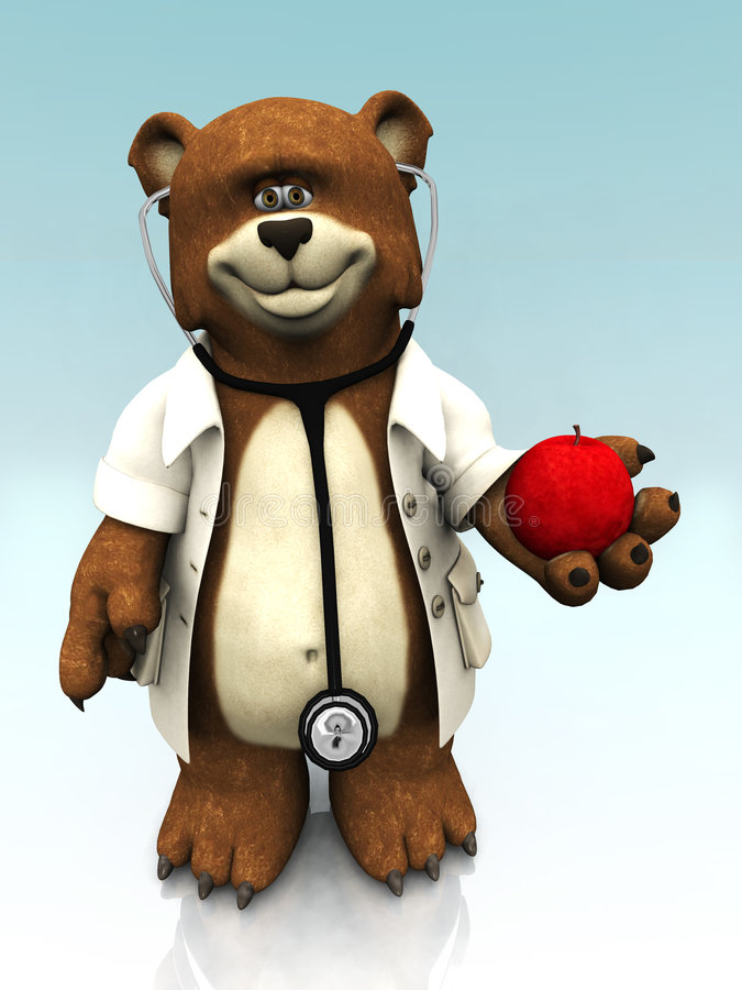 Cartoon Bear Dressed As Doctor, Holding An Apple. Stock Photography