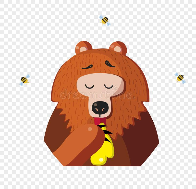 Cartoon bear eat honey from a paw isolated on transparent background stock illustration