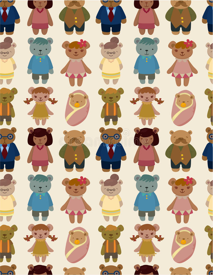 Cartoon bear family icon set seamless pattern stock illustration