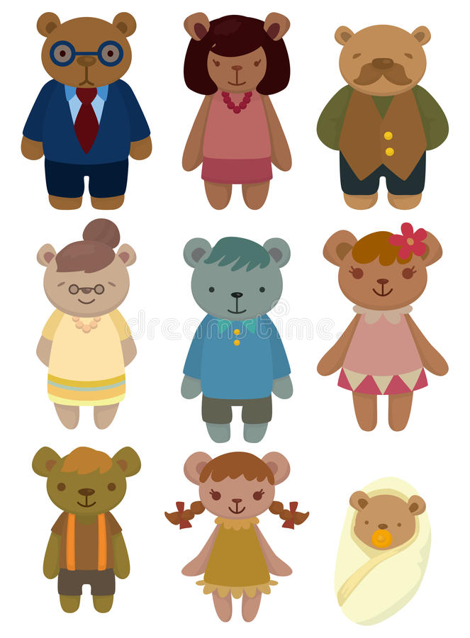 Cartoon bear family set icon stock illustration