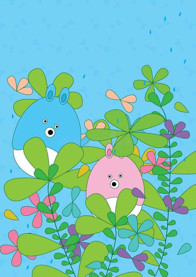 Cartoon Bear Leaves Flourish Rainy_eps stock illustration