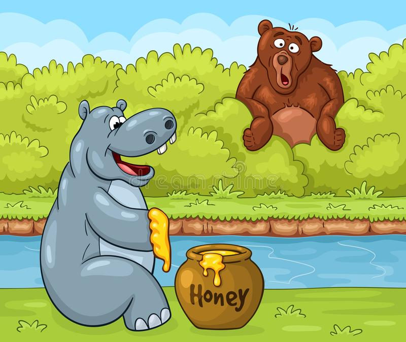 Pleased hippopotamus with honey and surprised bear royalty free illustration